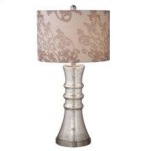 Mercury Glass Lamp with Brocade Shade. 100 W Max. 3 Way Switch.