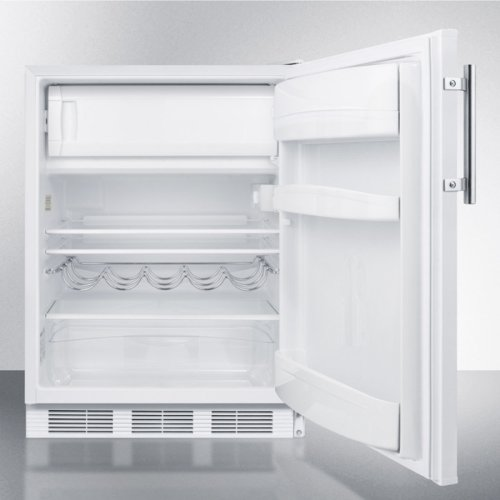 ADA Compliant Built-in Undercounter Refrigerator-freezer for Residential Use, Cycle Defrost With Deluxe Interior and White Exterior Finish