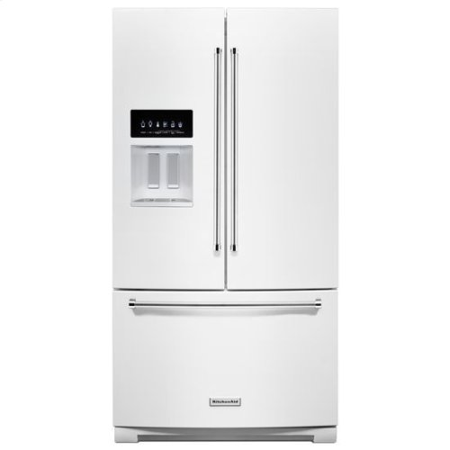 KitchenAid® 26.8 cu. ft. 36-Inch Width Standard Depth French Door Refrigerator with Exterior Ice and Water - White