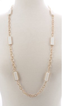BTQ Faceted White Stone Necklace