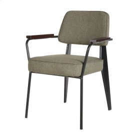 Kolten Fabric Metal Arm Chair, Olive/ Black