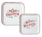 "Red & White Enamel Square ""Merry Christmas & Happy Holidays"" Wall Decor. (2 pc. set) Product Image"