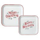 """Red & White Enamel Square """"Merry Christmas & Happy Holidays"""" Wall Decor. (2 pc. set) Product Image"""