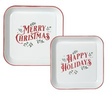 "Red & White Enamel Square ""Merry Christmas & Happy Holidays"" Wall Decor. (2 pc. set)"