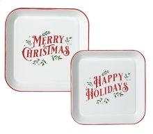 "Red & White Enamel Square ""Merry Christmas & Happy Holidays"" Wall Decor. (2 pc. set)"