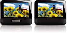 "Philips Portable DVD Player PD7012 17.8 cm (7"") LCD Dual screens"