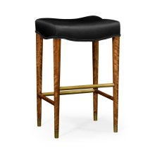 Cosmo Bar Stool, Upholstered in Black Leather