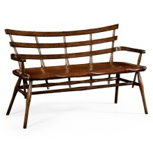 Oak Bench with Studded Leather Seat