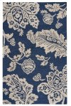 Everard Damask Navy Hand Tufted Rugs
