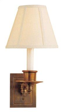Visual Comfort S2005HAB-L Studio 7 inch 40 watt Hand-Rubbed Antique Brass Swing-Arm Wall Light in Linen