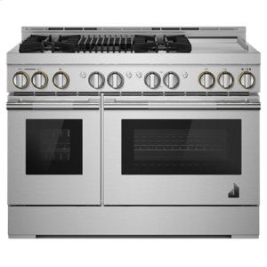 "Jenn-Air48"" RISE Gas Professional-Style Range with Chrome-Infused Griddle and Infrared Grill"