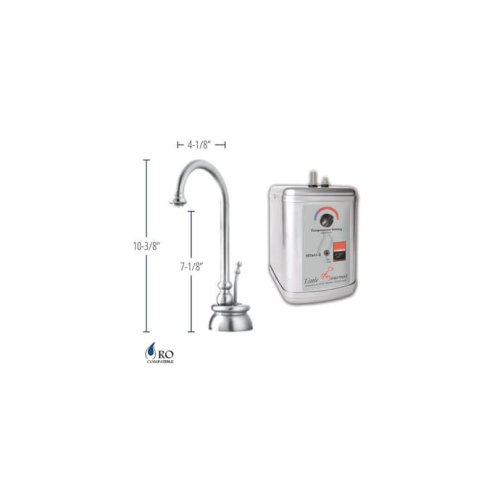 Hot Water Faucet with Traditional Body & Single Tilt Lever & Little Gourmet® Premium Hot Water Tank - Brushed Stainless Steel