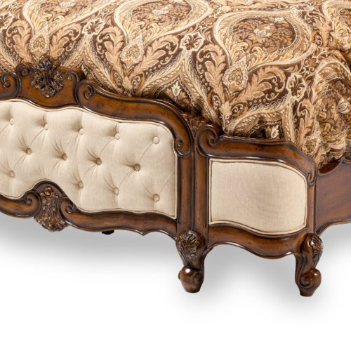 Eastern King Wing Mansion Bed W/fabric Inserts