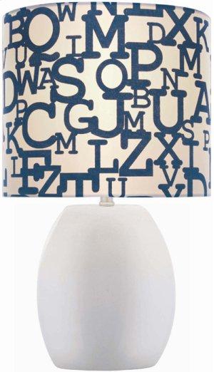 Ceramic Table Lamp, White/colored Fabric Shade E27 Cfl 13w