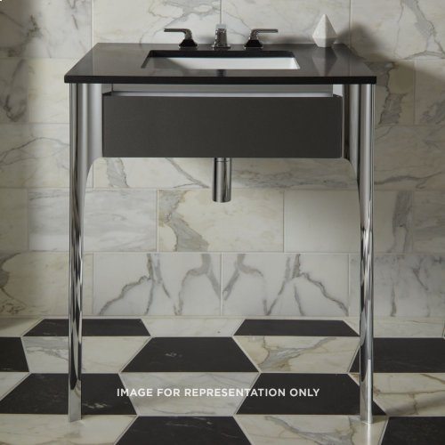 """Balletto 30-1/2"""" X 7-1/2"""" X 21-3/4"""" Slim Drawer Vanity In Silver Screen With Slow-close Plumbing Drawer and Legs In Chrome"""