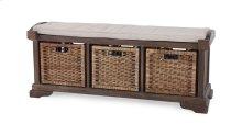 Homestead Bench w/ Rattan Baskets - CCA LN126