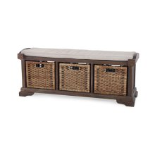 Homestead Bench w/ Rattan Baskets - CCA LN126
