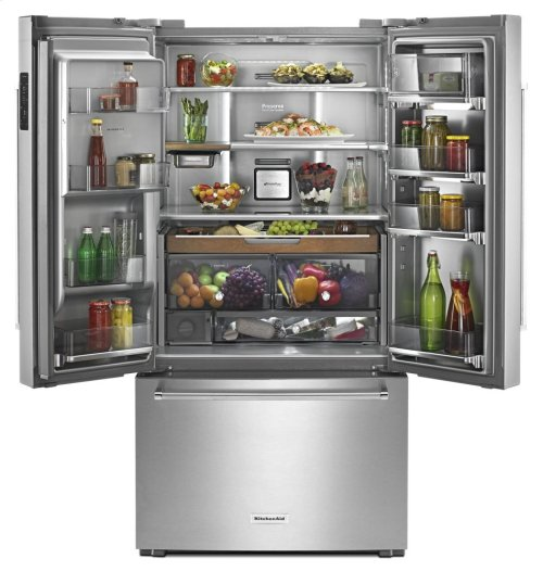 "23.8 cu. ft. 36"" Counter-Depth French Door Platinum Interior Refrigerator with PrintShield Finish - Stainless Steel"