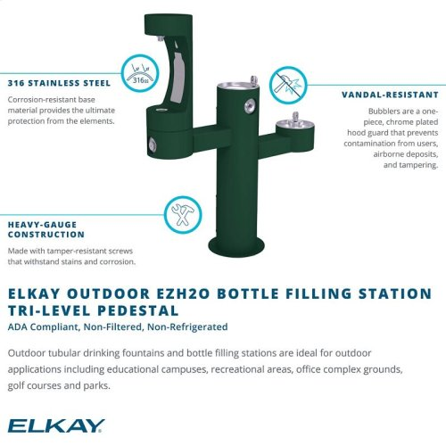 Elkay Outdoor EZH2O Bottle Filling Station Tri-Level Pedestal, Non-Filtered Non-Refrigerated