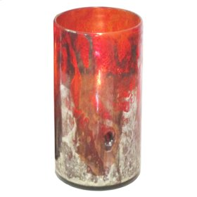 Oxidized Red Tall Canister Candleholder