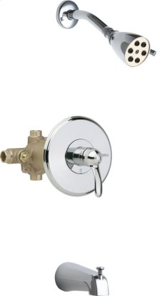 Thermostatic Pressure Balancing Tub and Shower Valve with Shower Head and Diverter Tub Spout