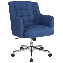 Laone Home and Office Upholstered Mid-Back Chair in Blue Fabric