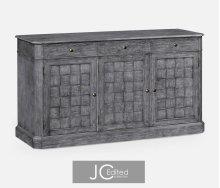 """68"""" Antique Dark Grey Three Door Sideboard"""