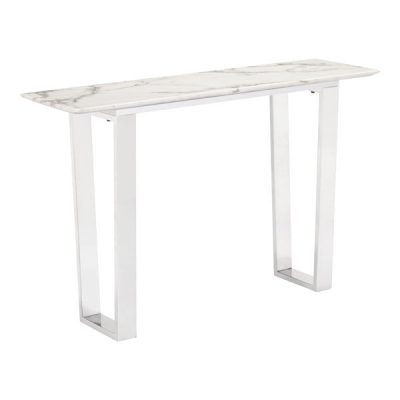Atlas Console Table Stone U0026 Brushed Stainless Steel