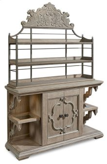Arch Salvage Carr Sliding Door Buffet With Bakers Rack