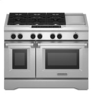 KitchenAid® 48-Inch 6-Burner with Griddle, Dual Fuel Freestanding Range, Commercial-Style - Stainless Steel