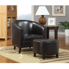 Leather Accent Chair and Ottoman