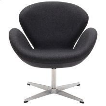 Wing Upholstered Fabric Chair in Dark Gray