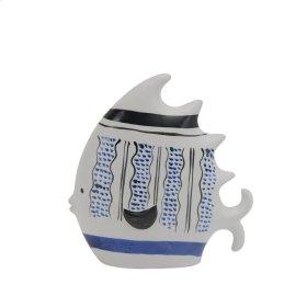 """Ceramic 9.5"""" Fish Blue/white"""