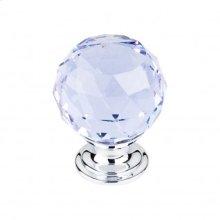 Light Blue Crystal Knob 1 3/8 Inch - Polished Chrome