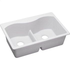 "Elkay Quartz Classic 33"" x 22"" x 9-1/2"", Equal Double Bowl Top Mount Sink with Aqua Divide, White"