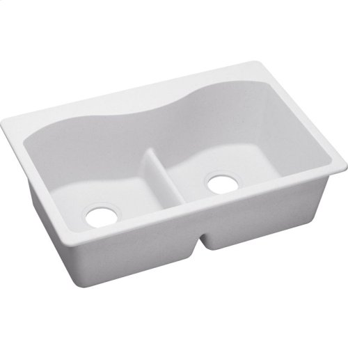 "Elkay Quartz Classic 33"" x 22"" x 9-1/2"", Equal Double Bowl Drop-in Sink with Aqua Divide, White"