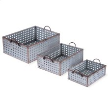 Perforated Galvanized Bins, Set of 3