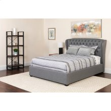 Barletta Tufted Upholstered Full Size Platform Bed in Light Gray Fabric with Pocket Spring Mattress