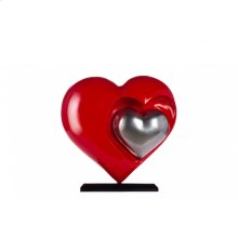 Love in the Air- Red and Chrome Heart Resin Sculpture