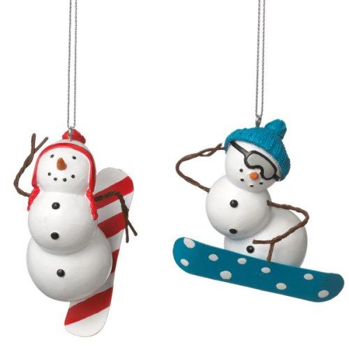 Snowman Snowboarder Ornament (2 asstd).