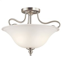 Tanglewood 2 Light Semi Flush with LED Bulbs Brushed Nickel