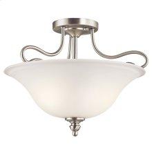 Tanglewood 2 Light Semi Flush with LED Bulbs Brushed Nickel