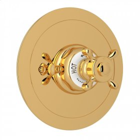 English Gold Perrin & Rowe Edwardian Era Round Thermostatic Trim Plate Without Volume Control with Edwardian Cross Handle
