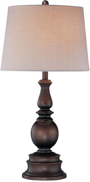 Table Lamp, Dark Bronze W/linen Fabric Shade, Type A 150w