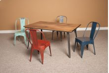 Rectangular Table with 6 Red Chairs