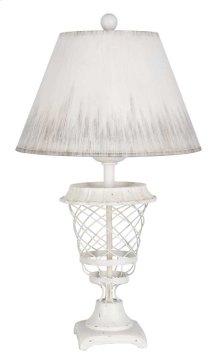 White Basket Table Lamp