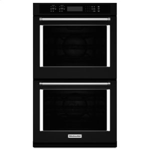 """KITCHENAID27"""" Double Wall Oven with Even-Heat True Convection - Black"""