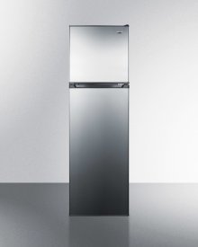 "Frost-free Refrigerator-freezer In Slim 22"" Width, With Stainless Steel Doors and Black Cabinet"