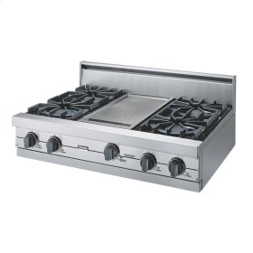 "Stainless Steel 36"" Open Burner Rangetop - VGRT (36"" wide, four burners 12"" wide griddle/simmer plate)"