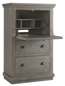 Armoire Desk - Distressed Dark Gray Finish